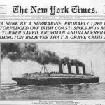L'annonce du naufrage du Lusitania en une du New York Times Newspaper