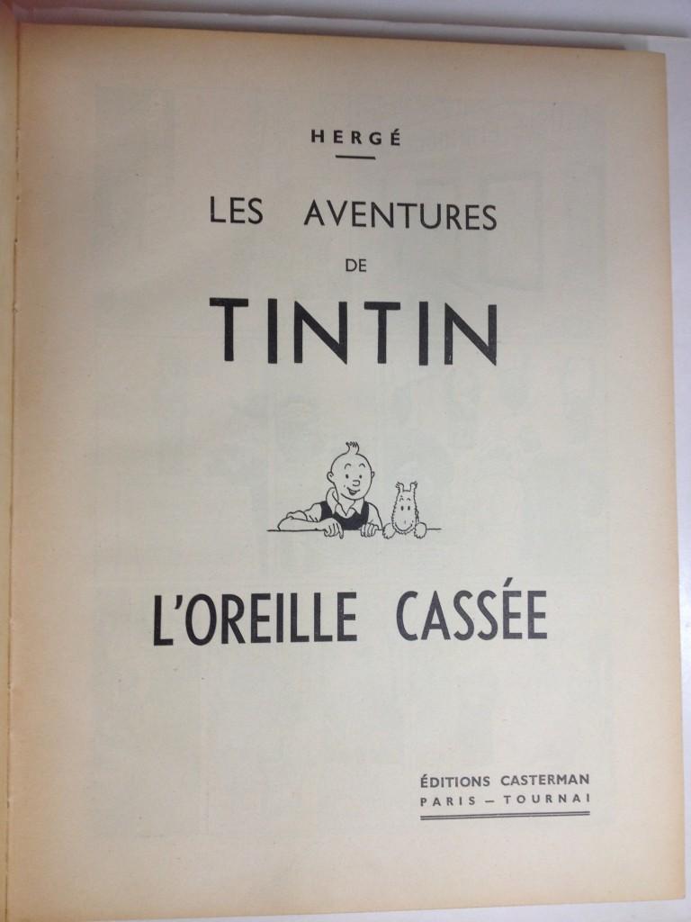 """Page de titre (où Milou a perdu son """"nez """"! comme disait Hergé)."""