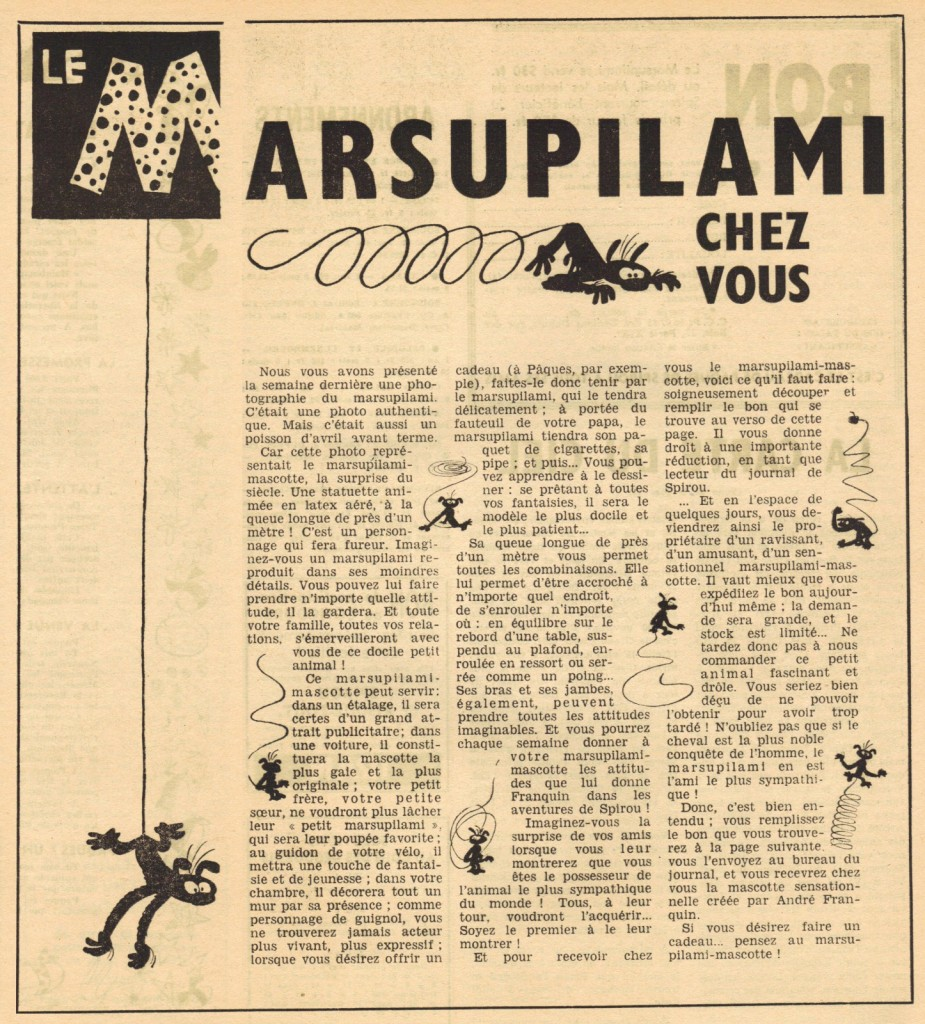 Article promotionnel pour le marsupilami mascotte en latex dans le n° 936 de Spirou, du 22 mars 1956.