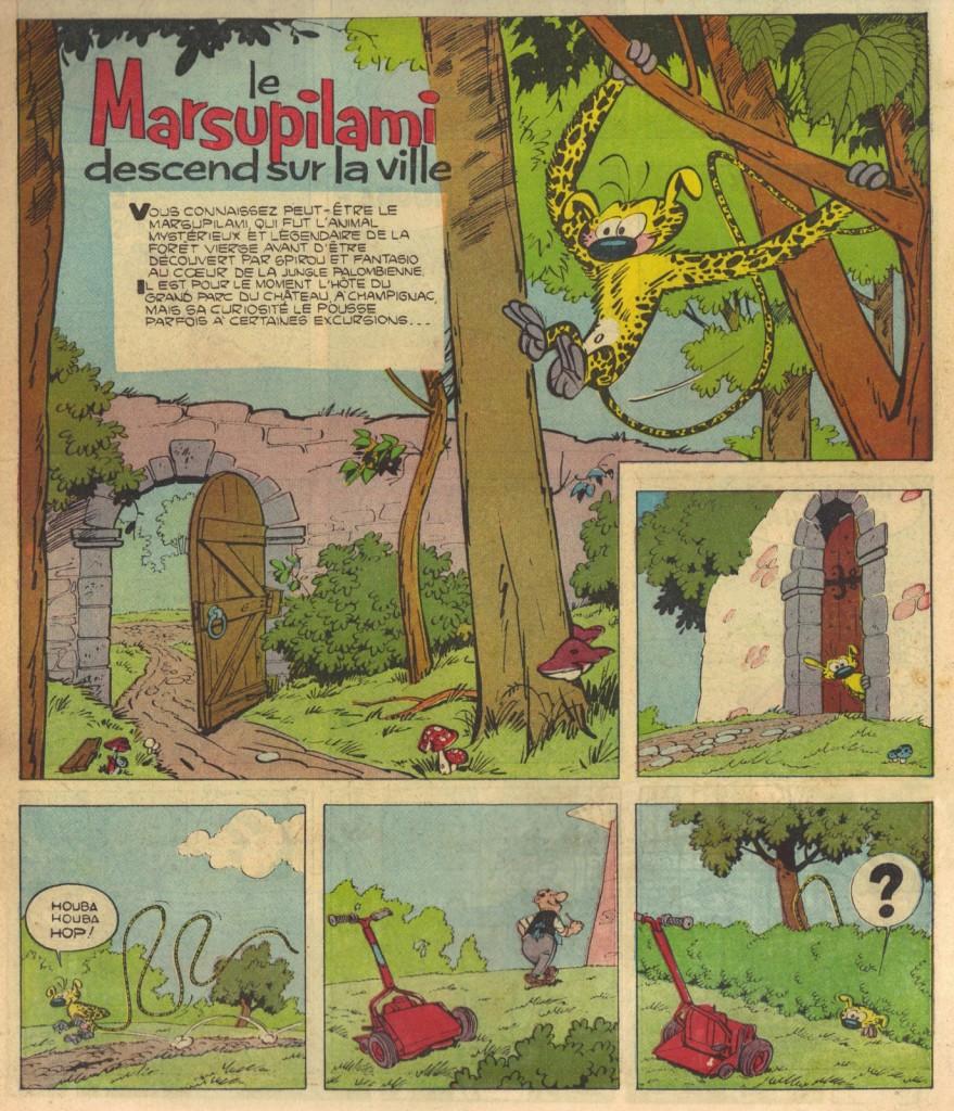 La première histoire du Marsupilami, en tant que héros à part entière, dans le n° 3 de Risque-Tout, daté du 8 décembre 1955.