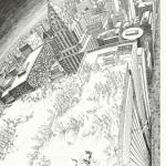 un dessin issu du début de la seconde histoire acceptée par la version belge de Pilote.