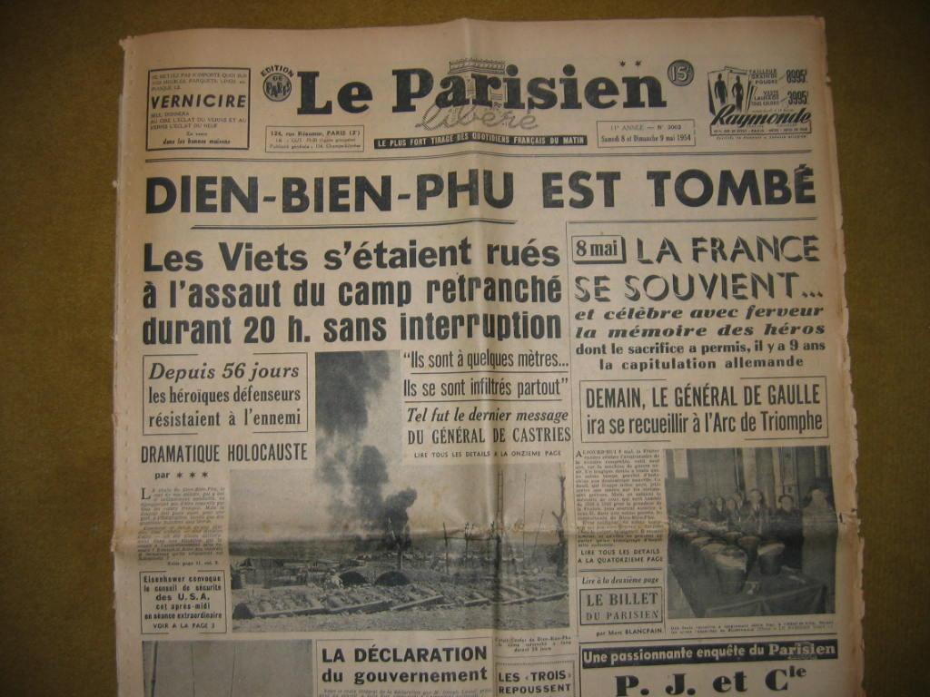 """Une du journal  """"Le Parisien"""" (08 mai 1954)"""
