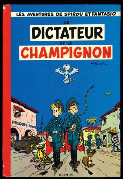 """Couverture originelle (1956) ; en 1966 puis 1972, le chiffre 7 intégrera le surtitre, tandis que le logo """"Dupuis"""" sera déplacé dans un cartouche blanc, sur la droite du visuel."""