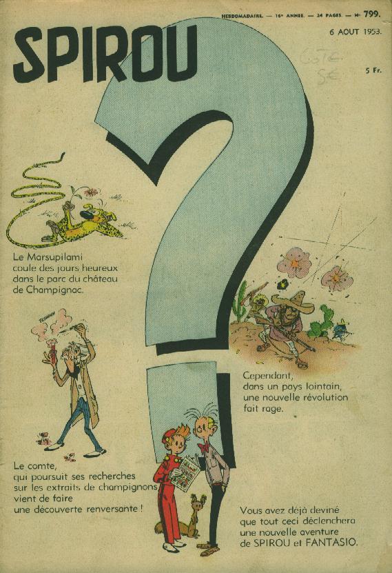 Page annonce et couverture du Journal de Spirou n° 799 du 06 août 1953