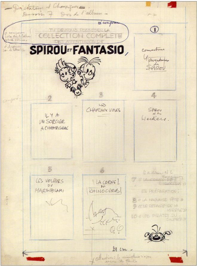 Projet annoté par Franquin pour la présentation en 4ème de couverture