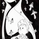lllustration à l'encre de Chine réalisée pour un ex-libris de la librairie Fantasmagories