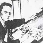 Charles Flanders à sa table de travail.
