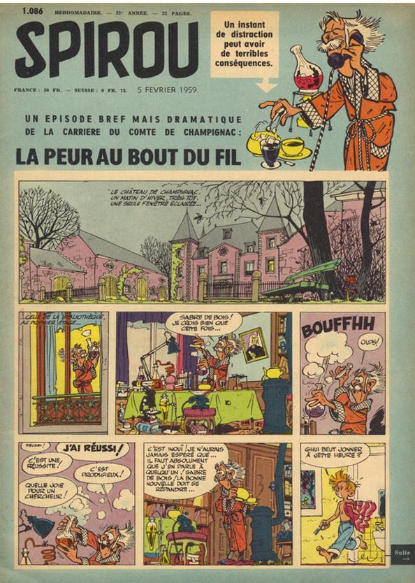 Première planche parue dans le Journal de Spirou n° 1086 (5 février 1959)