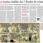 """Article de Daniel Couvreur paru dans Le Soir en 2012 pour commenter la parution des """"Mystères de 7 boules de cristal"""""""