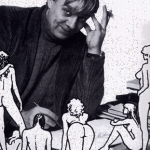 """Milo Manara entouré par certaines de ses """"créatures""""."""