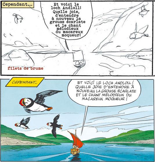 Extraits d'Astérix chez les Pictes (copyright éd. Albert René - 2013) : storyboards de Ferri et dessin de Conrad.