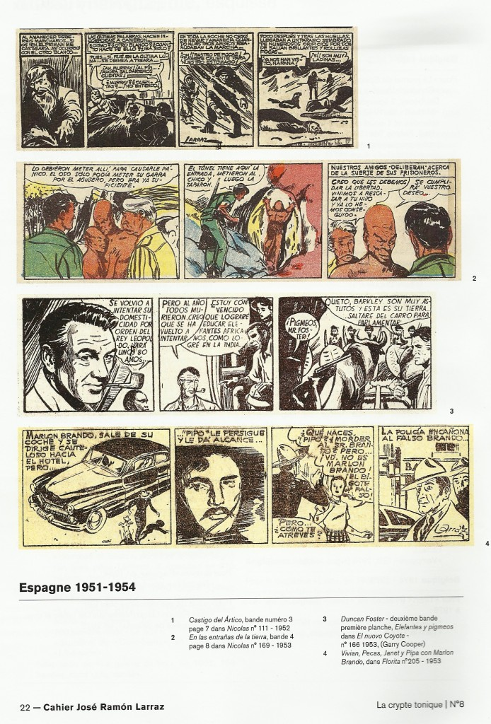 Une belle page du n° 8 de La Crypte tonique magazine, résumant la carrière BD de Larraz en Espagne.
