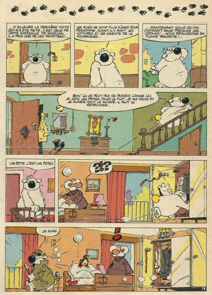 La première des quatre planches avec Cubitus de « Bill a disparu », réalisées par Tome et Janry.