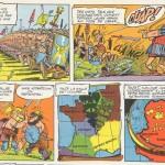 Extrait d'Astérix le gaulois (1959) : première demi-planche de l'album, par Goscinny et Uderzo