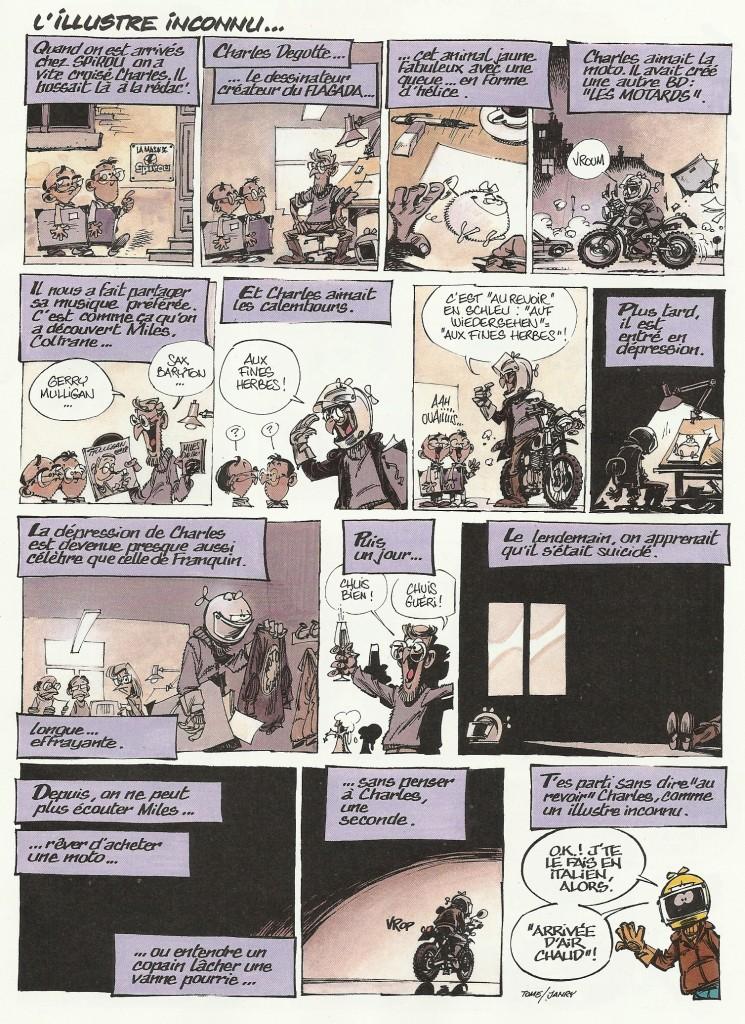 Page de Tome & Janry pour« La Galerie des illustres » de Spirou (au n° 3852 du 8 février 2012), en hommage à Charles Degotte.