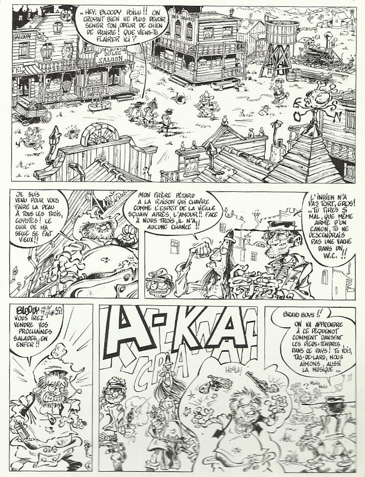 La page de « Pétard Guy » publiée dans l'album « Les Mémoires de Spirou » :  on y reconnait Janry caricaturé en petit méchant à lunettes, Stuf en Indien et Tome en grand mal rasé.
