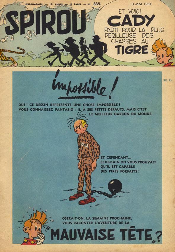Page annonce de Spirou n°839 (1954)