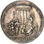 « De leurs travaux naîtra leur gloire. » Revers d'un jeton de la loge des Neuf Sœurs à l'effigie de Benjamin Franklin (1783).
