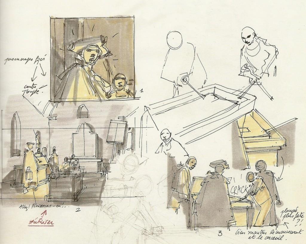 Esquisses de la planche 3 du tome 1 de «L'Épervier » (« Le Trépassé de Kermellec »), pour trouver le bon angle de vue et la bonne composition.