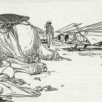 Une case extraite des 32 planches inédites de « La Planète perdue », réalisées entre 1985 et 1989.