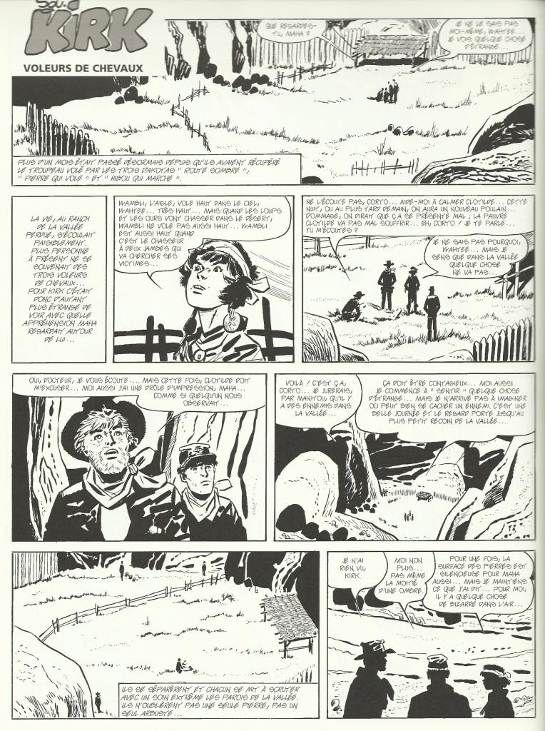 Le dernier épisode de « Sgt. Kirk » dessiné par Hugo Pratt, encré par Gisela Dester.
