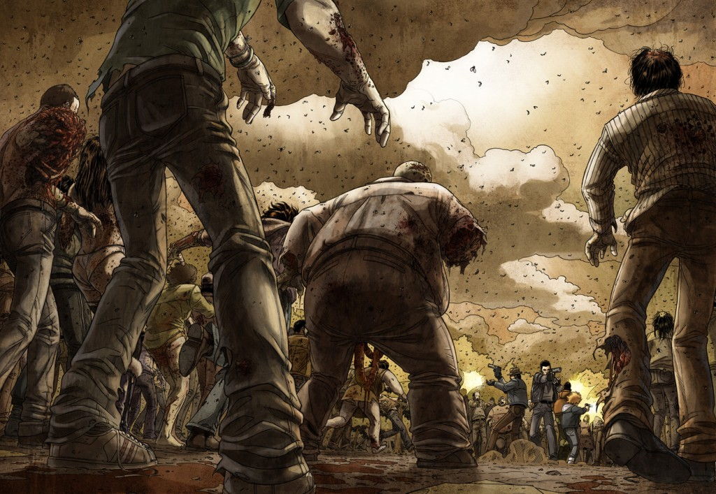 Le choc de la case unique (planches 42 et 43 dans Zombies t.1)