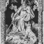Odin avec les loups Geri et Freki et les corbeaux Hugin et Munin (dessin à la plume de Johannes Gehrts, 1884)