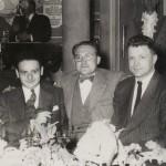 Georges Troisfontaines (à droite), à côté d'Eddy Paape et René Goscinny, au temps de la World's.
