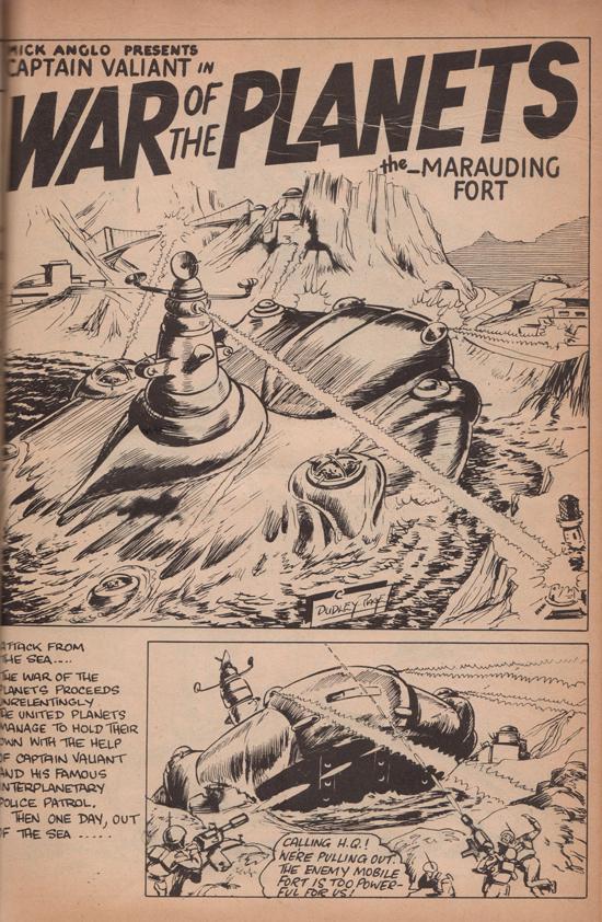 La première page de « Captain Valiant, Ace of Interplanetary Police Patrol » de Dennis Gifford, tirée de Space Comics n° 73.