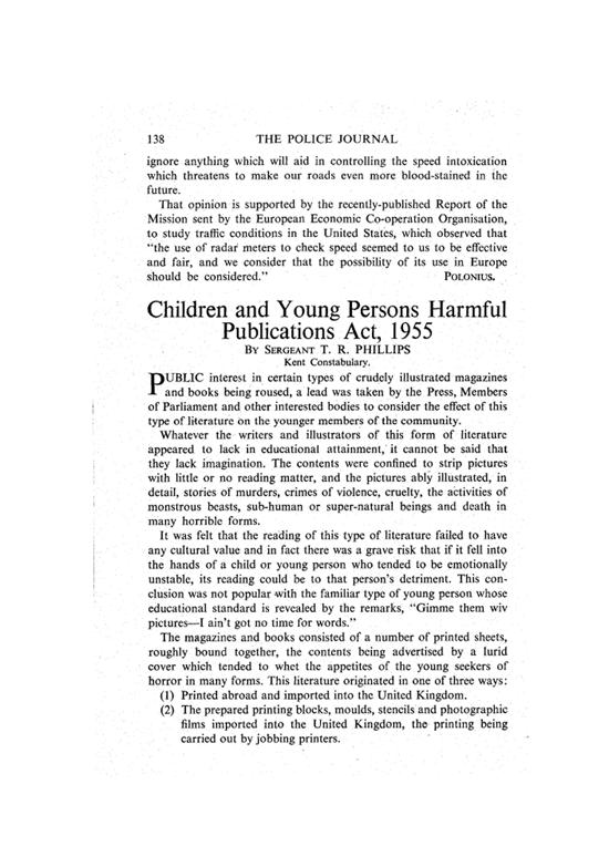 Le texte du « Children and Young Persons Harmful Publications Act » paru sur Police Journal p.138 (1956), l'équivalent anglais du Journal Officiel.