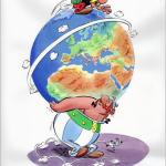 Dessin hommage réalisé par D. Conrad pour l'exposition Astérix à la BNF (Editions Albert René et Hachette)