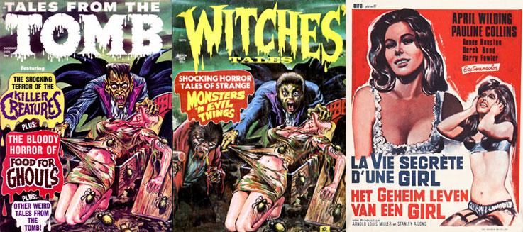 Les publications d'Eerie Press, diffusées par L. Miller & Co. (Hackney), Ltd. : on remarque que le même dessin de couverture a été réexploité pour deux magazines différents + « La Racoleuse » d'Arnold Miller & Stanley Long (1966).