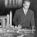 Robert Moses et la maquette du Battery Bridge. Photo Library of Congress. New York World-Telegram & Sun Collection, 1939