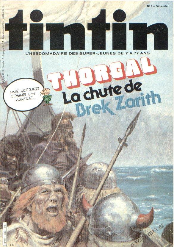 Illustration de couverture de Rosinski pour le Journal de Tintin (ici dans sa numérotation belge : n° 5, du 1er février 1983)) annonçant la prépublication.