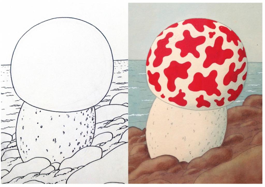 À droite, détail du dessin à l'encre du champignon ; à gauche, la mise en couleurs d'Hergé.