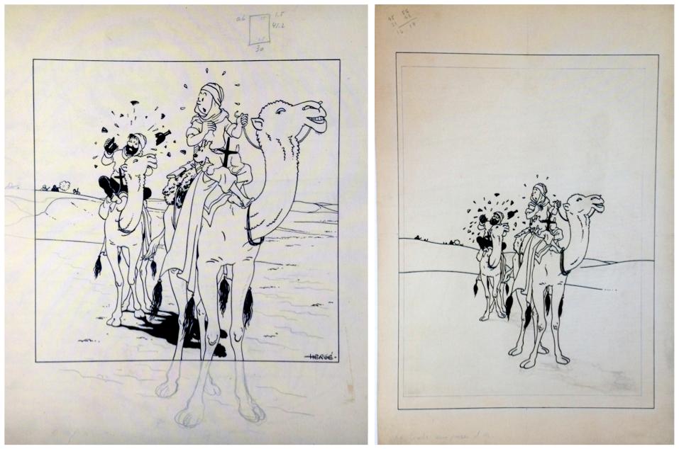 Pour la réalisation des dessins de couverture, Hergé a procédé par simple report des anciens dessins des petites images.