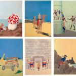 6 des 9 gouaches de mises en couleur réalisées par Hergé, entre le 8 et le 10 juin 1942 au prix d'un effort surhumain.