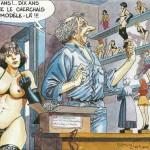 François Dermaut autocaricaturé  dans une carte pour le salon des collectionneurs de Figeac, en 2000.