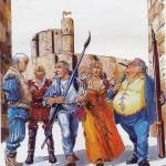Affiche par François Dermaut pour l'exposition « Malefosse » représentant les héros de la série avec leurs créateurs.