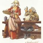 Carte de voeux d'une série de six pour un restaurant (« 2 000 ans de bouffe »), dessinée par François Dermaut en 1999.