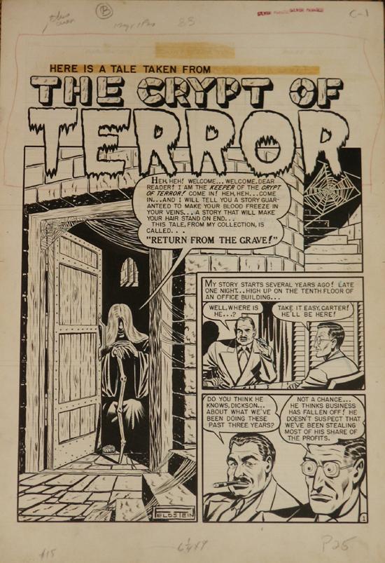 La première apparition du Keeper of the Crypt dans Crime Patrol n° 9 (janvier 1950).
