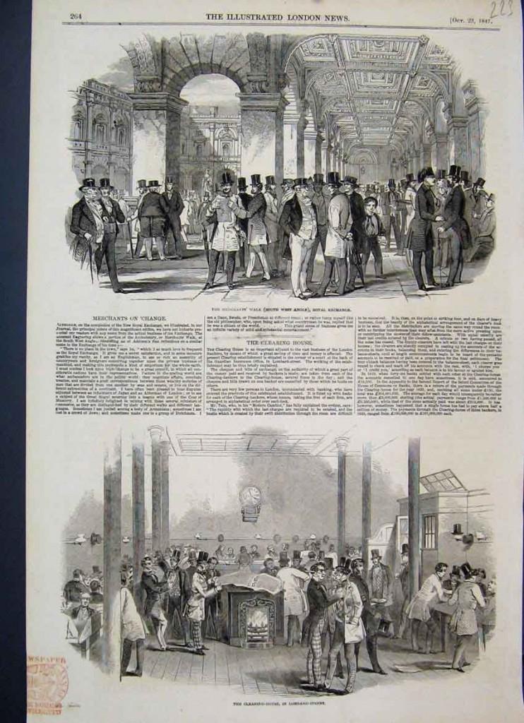 """L'ambiance à la Bourse de Londres (Royal Stock Exchange) en 1847. The """"Merchant's walk"""" : gravures publiées dans """"Illustrated London News"""" (23 octobre 1847)."""