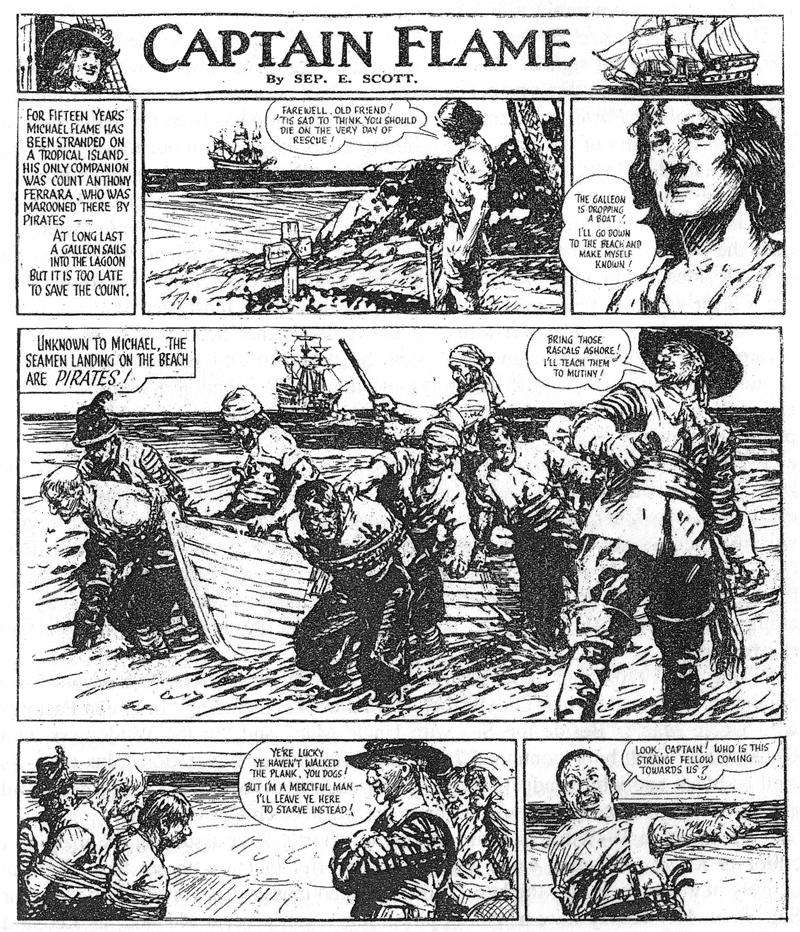 Une page originale de « Captain Flame » par Septimus Edwin Scott et Leonard Mattews publiée dans Knock-Out, en 1949.