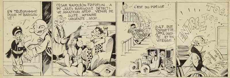 Strip original de « Jules Barigoule détective amateur ».