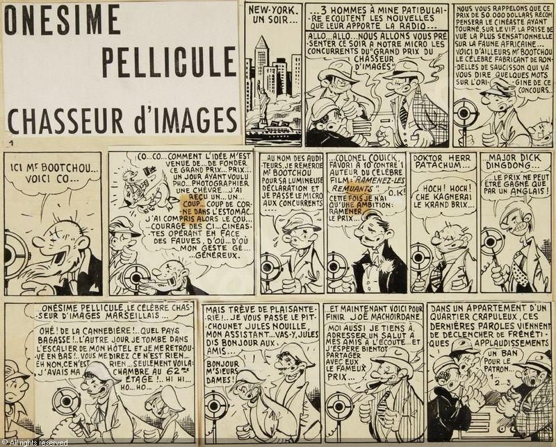 Planche originale d'« Onésime Pellicule chasseur d'images ».