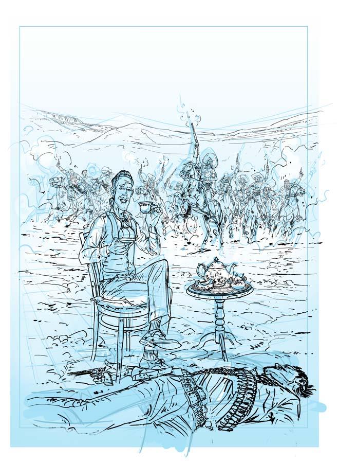 Crayonné et encrage pour la version finale de la couverture du tome 1