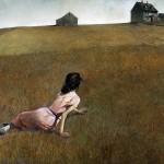 """""""Christina's World"""" par Wyeth (1948)  représente une femme (Christina Olson) atteinte de poliomyélite et paralysée des jambes, rampant dans un champ en direction d'une maison grise au sommet d'une colline."""
