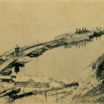Lieu de transbordage du train sur les rives du lac Baïkal et ferry-boat