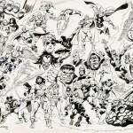 Un dessin de commande de John Buscema avec les héros Marvel.