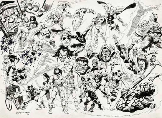 un dessin de commande de john buscema avec les hros marvel - Dessin Marvel